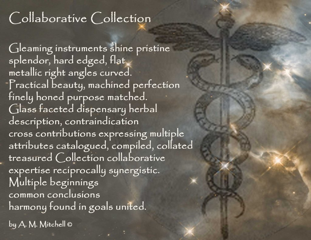Collaborative Collection Gleaming instruments shine pristine splendor, hard edged, flat metallic right angles curved. Practical beauty, machined perfection finely honed purpose matched. Glass faceted dispensary herbal description, contraindication cross contributions expressing multiple attributes catalogued, compiled, collated treasured Collection collaborative expertise reciprocally synergistic. Multiple beginnings common conclusions harmony found in goals united. by A. M. Mitchell ©