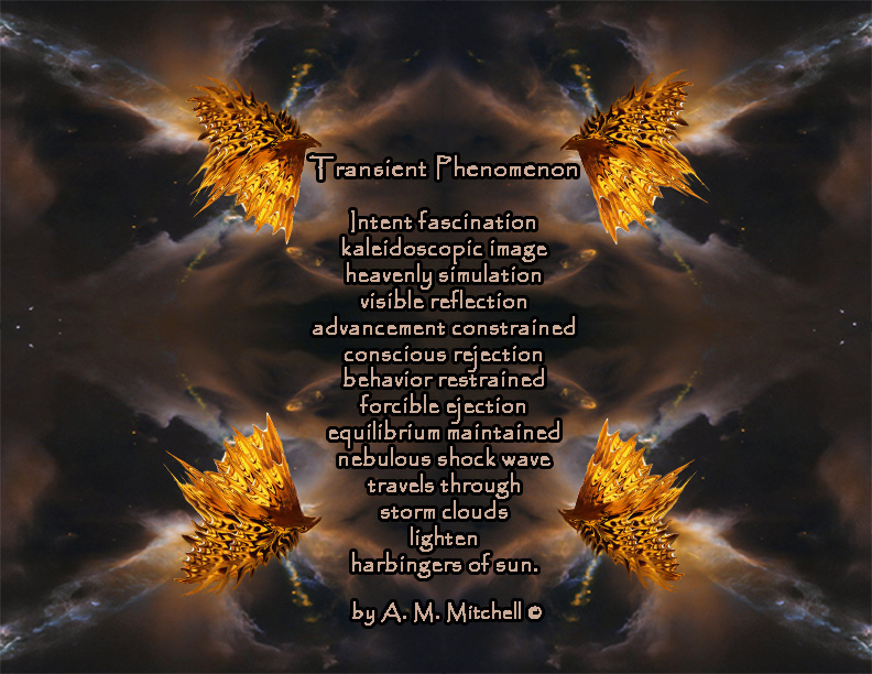 Transient Phenomenon  Intent fascination kaleidoscopic image heavenly simulation visible reflection advancement constrained conscious rejection behavior restrained forcible ejection equilibrium maintained. nebulous shock wave  travels through storm clouds  lighten harbingers of sun.  by A. M. Mitchell ©
