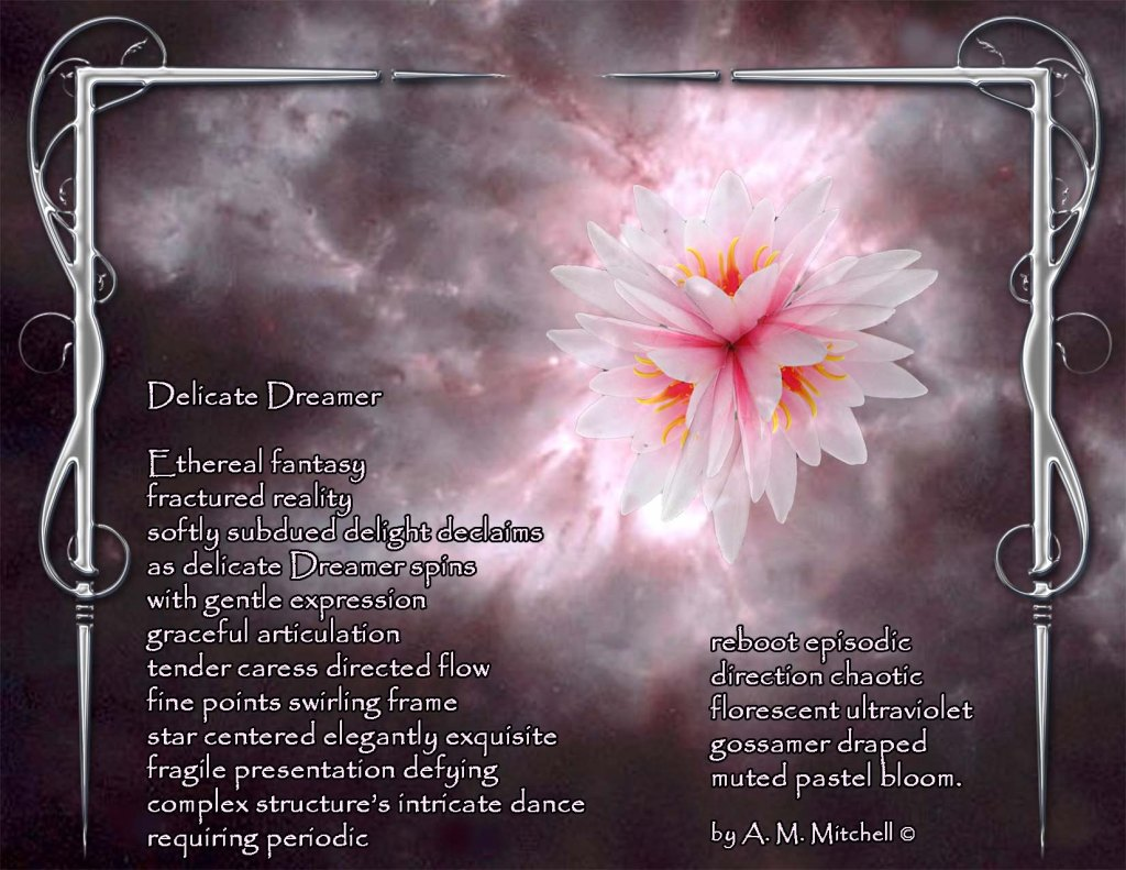 Delicate Dreamer  Ethereal fantasy fractured reality softly subdued delight declaims as delicate Dreamer spins  with gentle expression graceful articulation tender caress directed flow fine points swirling frame star centered elegantly exquisite fragile presentation defying complex structure's intricate dance requiring periodic  reboot episodic  direction chaotic florescent  ultraviolet gossamer draped  muted pastel bloom.  by A. M. Mitchell ©