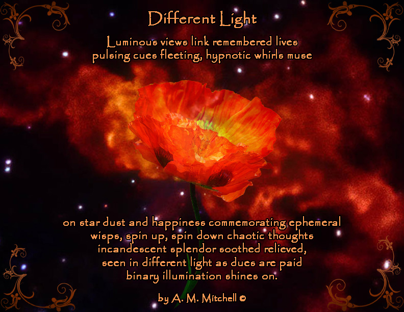 Different Light  Luminous views link remembered lives pulsing cues fleeting hypnotic whirls muse on star dust and happiness commemorating ephemeral  wisps, spin up, spin down chaotic thoughts incandescent splendor soothed relieved, seen in different light as dues are paid and binary illumination  shines on.  by A. M. Mitchell ©