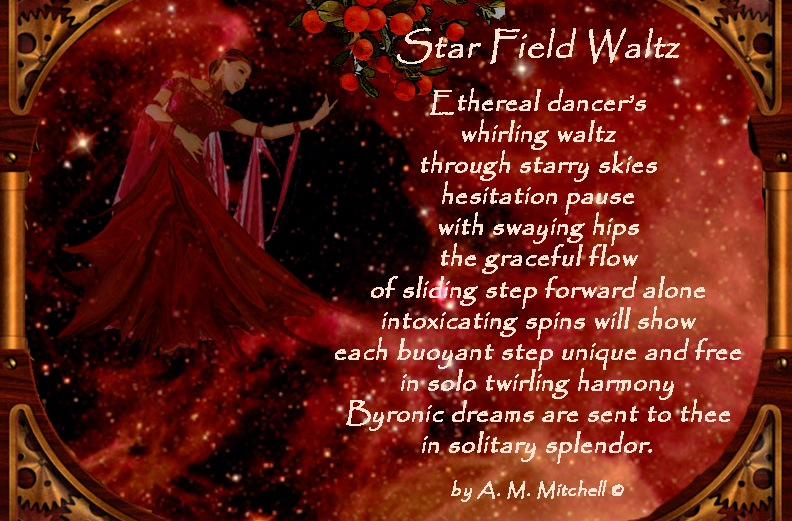 Star Field Waltz Ethereal dancer's whirling waltz through starry skies hesitation pause with swaying hips the graceful flow of sliding step forward alone intoxicating spins will show each buoyant step unique and free in solo twirling harmony Byronic dreams are sent to thee in solitary splendor. by A. M. Mitchell ©