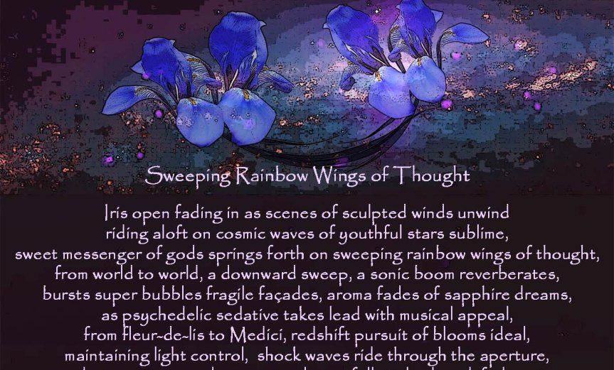 Sweeping Rainbow Wings of Thought Iris open fading in as scenes of sculpted winds unwind riding aloft on cosmic waves of youthful stars sublime, sweet messenger of gods springs forth on sweeping rainbow wings of thought, from world to world, a downward sweep, a sonic boom reverberates, bursts super bubbles fragile façades, aroma fades of sapphire dreams, as psychedelic sedative takes lead with musical appeal, from fleur-de-lis to Medici, redshift pursuit of blooms ideal, maintaining light control, shock waves ride through the aperture, end star compressed, convert, release, full circle closed, fade out… by A. M. Mitchell ©